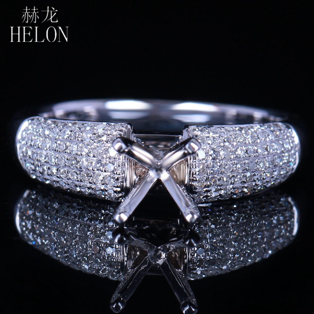 HELON Solid 10K (417) White Gold 5.5-6mm Round Cut Semi Mount Pave Rear Natural Diamonds Engagement Wedding Fine Jewelry Ring helon pear cut 11x8mm solid 10k white gold pave natural diamonds semi mount wedding engagement elegant women s jewelry fine ring
