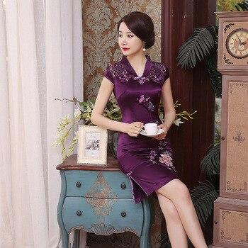 98257140600 2019 летнее винтажное вышитое цветочное женское Ципао плюс размер 3XL 4XL  5XL мини сексуальное китайское платье