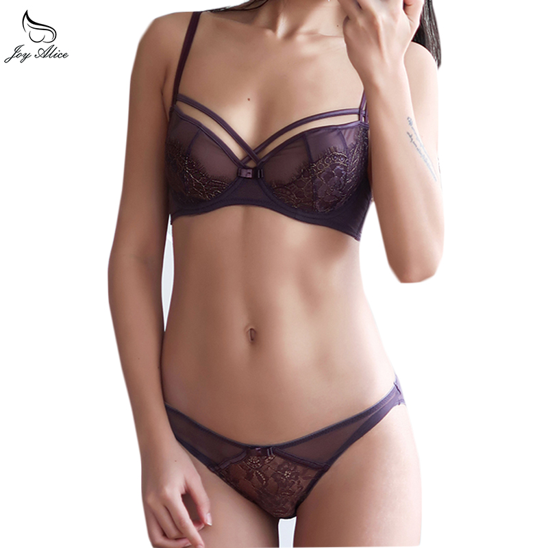 2018 Hot Push Up   Bra     Set   Lace Underwear   Set   For Women Unlined Plus Size Transparent   Bra   Panty Female Lingerie   Set