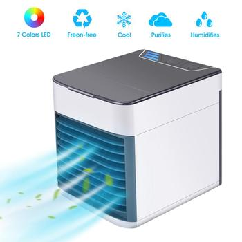 USB Mini Portable Air Conditioner Humidifier Purifier 7 Colors LED Light  Skin Care Tools Toiletry Kits