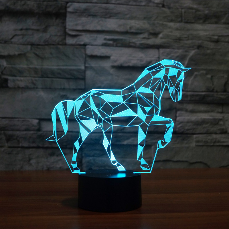 Color changeable touch sensor control Jigsaw puzzle horses Acrylic 3D LED Children Bedroom Night Light USB 3D LED table Lamps