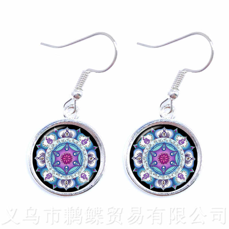 Green & Blue Mandala Glass Dome Earrings Buddhist Sacred Geometry Jewelry Spiritual Yoga Jewelry Gift Drop Earrings For Girls