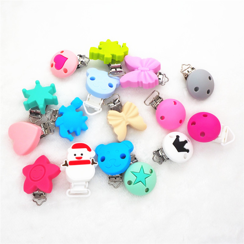 Chenkai 250PCS Round Bear Star Silicone Teether Clips DIY Baby Pacifier Dummy Chain Holder Soother Nursing Jewelry Toy Clips
