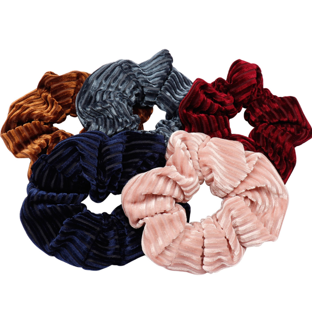 Hair Accessories Stripe Velvet Scrunchies Women Solid Ponytail Holder Elastic Hair Bands Girls Large Size Tail Gum Hair Rope