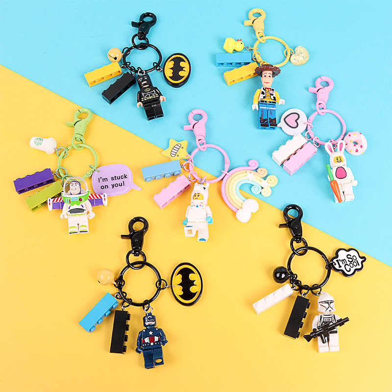 Cute Buzz Lightyear Batman Superman Figures Doll Keychain Building Block Key Ring Pendant for Women Bag Backpack Accessories