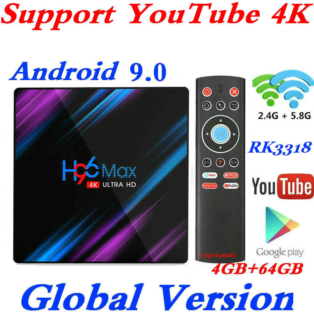 Новый H96 MAX RK3318 Smart tv Box Android 9,0 4 Гб ram 64 Гб 4K WiFi медиаплеер Google Voice Assistant поддержка Netflix Youtube 4K