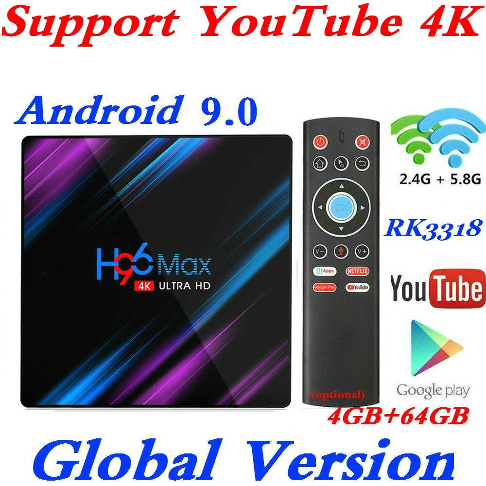 Nouveau H96 MAX RK3318 Smart TV Box Android 9.0 4GB RAM 32GB 64GB 4K WiFi lecteur multimédia Google Assistant vocal Netflix Youtube 2G16GB