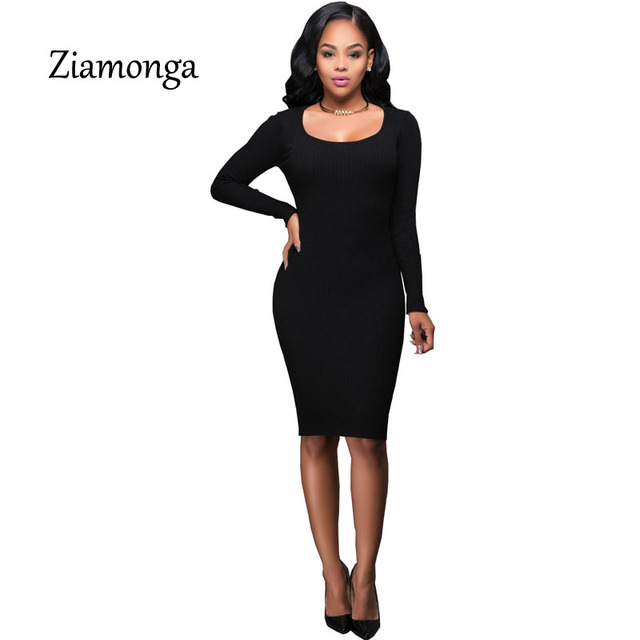 52f7b993eb 2017 New Fashion Plus Size Army Green Black Knitted Bodycon Dress Women  Long Sleeve Sexy Evening Party Pencil Dresses C2815