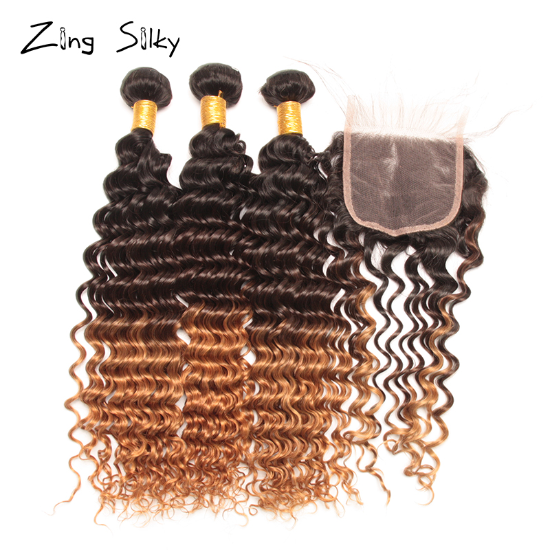 Deep Wave Ombre Bundles with Closure Colored 3/4 Brazilian Human Hair Bundles with Closure Remy Tissage Bresiliens Avec Closure Lahore