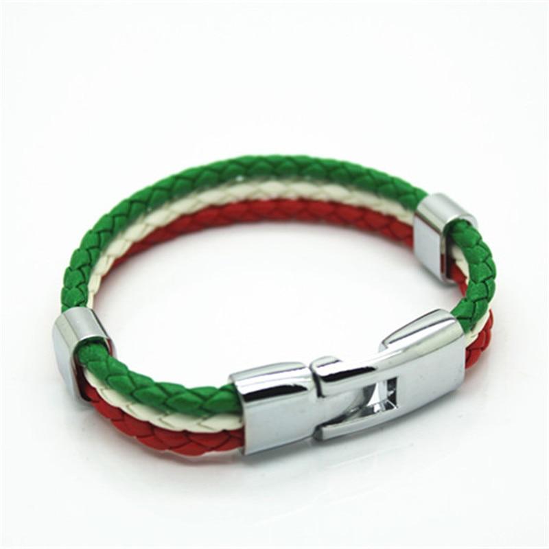 Italian flag colors colors Punk Style PU Leather Bracelet