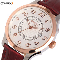 COMTEX Brand Mens Watches Commercial Male Waterproof Leather Vintage Quartz Watches Quality Assurance Gold Business Men