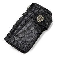 Ручной работы Вязание Для мужчин из натуральной кожи держатель для карт аллигатора кошельки черная сумка Кошельки сцепления растительного