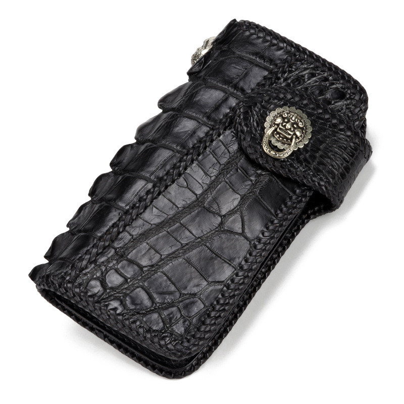 Handmade Knitting Men Genuine Leather Card Holder Alligator Wallets Black Bag Purses Clutch Vegetable Tanned Leather Wallet luxury brand handmade genuine cowhide vegetable tanned leather men wowen long slim wallet wallets purse card holder clutch bag