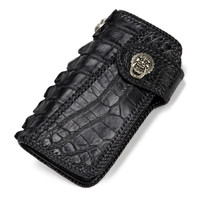 Handmade Knitting Men Genuine Leather Card Holder Alligator Wallets Black Bag Purses Clutch Vegetable Tanned Leather Wallet