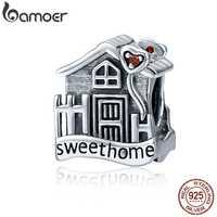 BAMOER nueva moda genuino 100% Plata de Ley 925, dulce hogar Loft Villa encantos pulseras DIY joyería fina SCC416