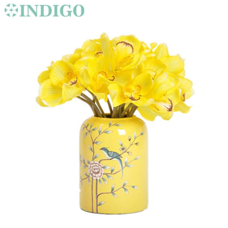 INDIGO 5 adet Mini Cymbidium Orkide Buketi Gerçek Dokunmatik Gelin - Tatiller ve Partiler Için