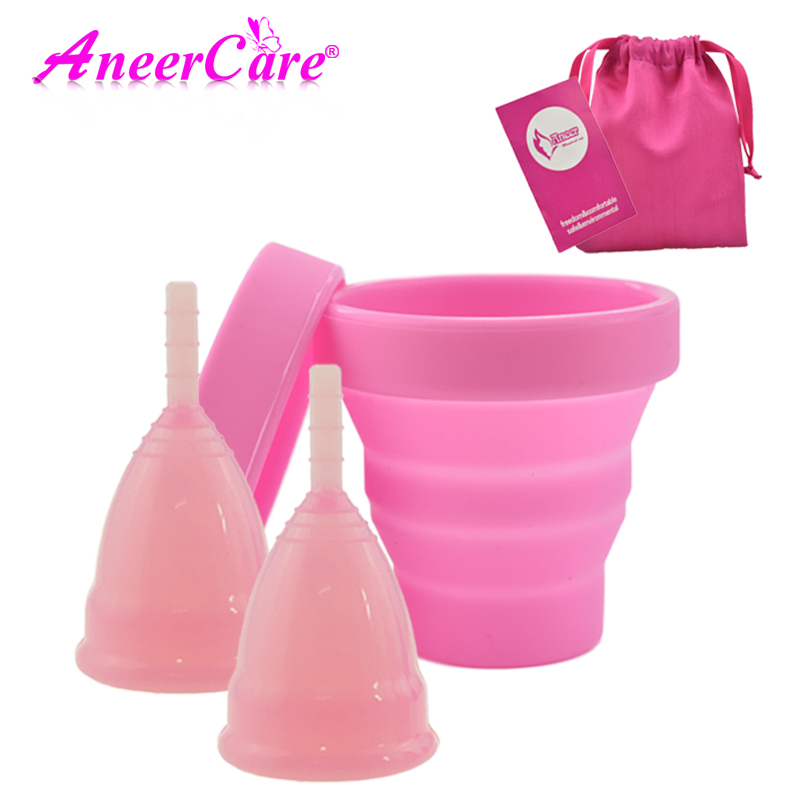 Hot Sale Vaginal Menstrual Cup And Sterilizer Cup Sterilizing Collapsible Cups Flexible To Clean Recyclable Camping Foldable Cup