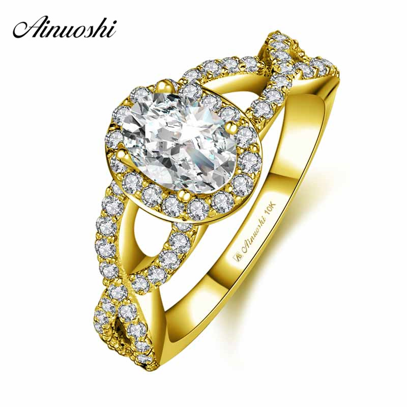 AINUOSHI 10k Solid Yellow Gold Halo Ring Woman Wedding Engagement Jewelry 0.5ct Oval Cut SONA Diamond Weaving Ring Bridal Band