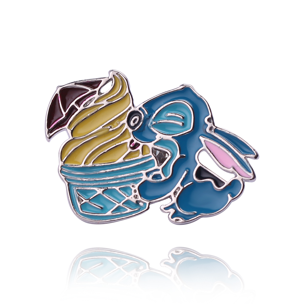 Anime Figure Pin Stitch with Ice Cream The Hard Enamel Pin Brooch Lilo and Stitch Cartoon Jewelry for Kids Hat/Bags Accessory