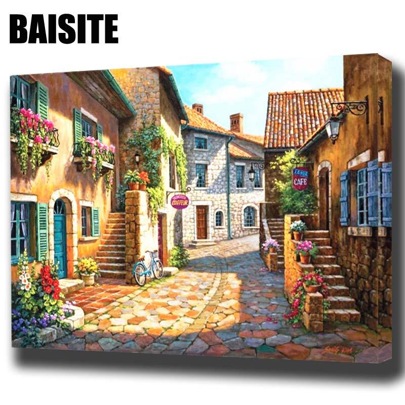 BAISITE Incorniciato Pittura A Olio Dai Numeri FAI DA TE Quadri Su Tela Pittura di Paesaggio Per Soggiorno Wall Art Home Decor H331