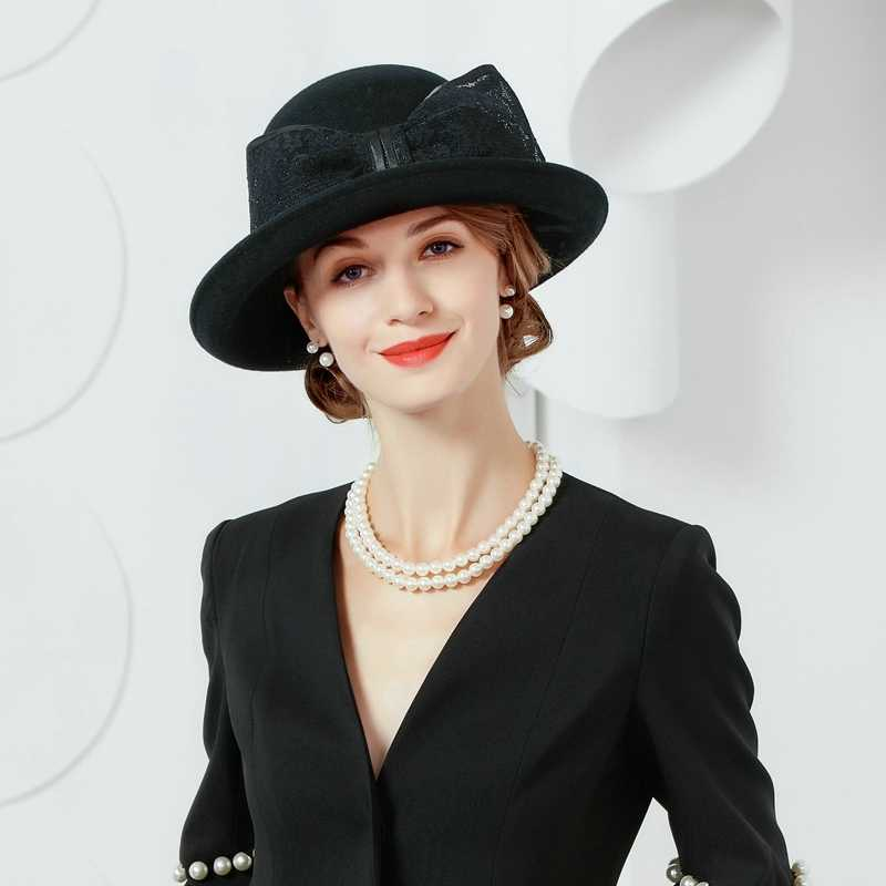 14691ddad08c7a ... Winter Autumn Wool Felt Hat Black Fedora For Womens Wide Brim Cloche Hat  With Bowknot Lady ...