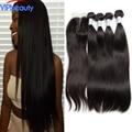 7a cabelo virgem Peruano em linha reta com fechamento vip beleza cabelo Peruano tecer cabelo humano em linha reta 4 pacotes com fechamento 1b