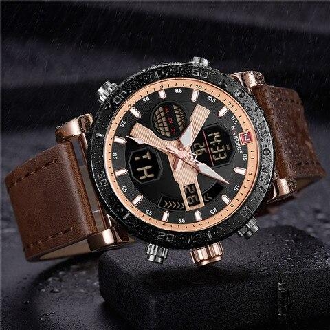 NAVIFORCE Men Watch Top Brand Luxury Sport Chronograph Digital Male Clock Genuine Leather LED Military Quartz Wristwatch 9132 Karachi