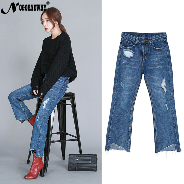 b8fe9576166 Plus size 2018 winter flare pants capris women wide leg high waist trousers  denim jeans BLUE