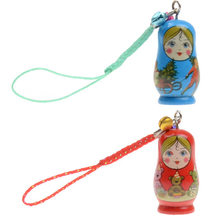 6 Pcs/Set Matryoshka Doll Hanging Ornament With Strap Wooden Keychain Handbag Phone Accessories KidsToy Gifts YJS Drops(China)