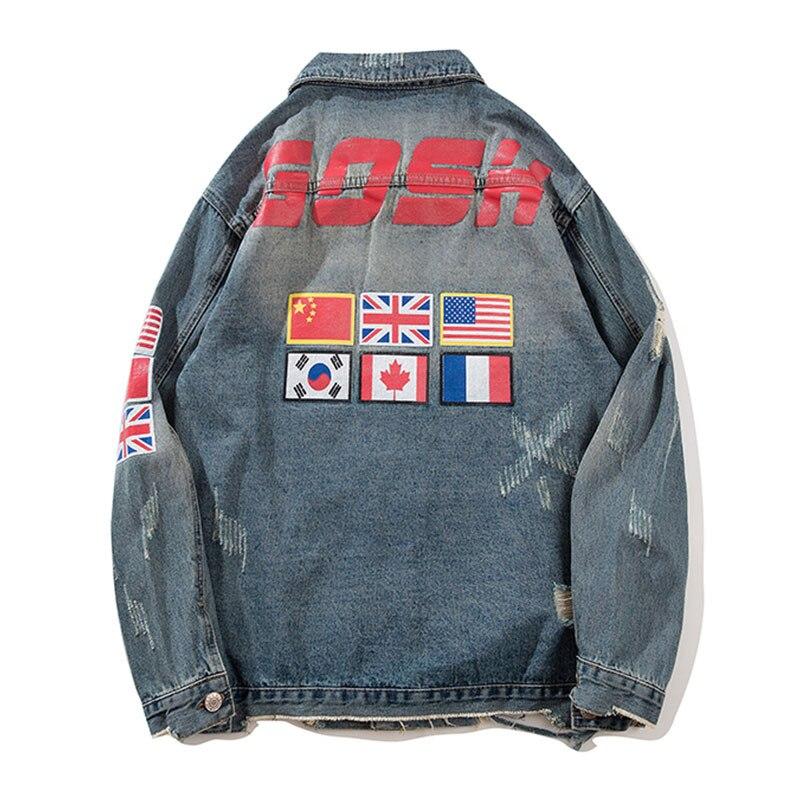 ABOORUN hommes mode Denim vestes US drapeau imprimé déchiré Jeans vestes hommes Hip Hop Denim manteau x1161