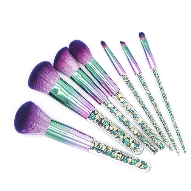 7 Piece Green And Gold Diamond Makeup Brush Set