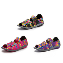 EOFK Women Sandals Handmade Woven Flats Shoes Woman 2019 Summer Fashion Breathable Casual Slip-On Colorful Female Footwear