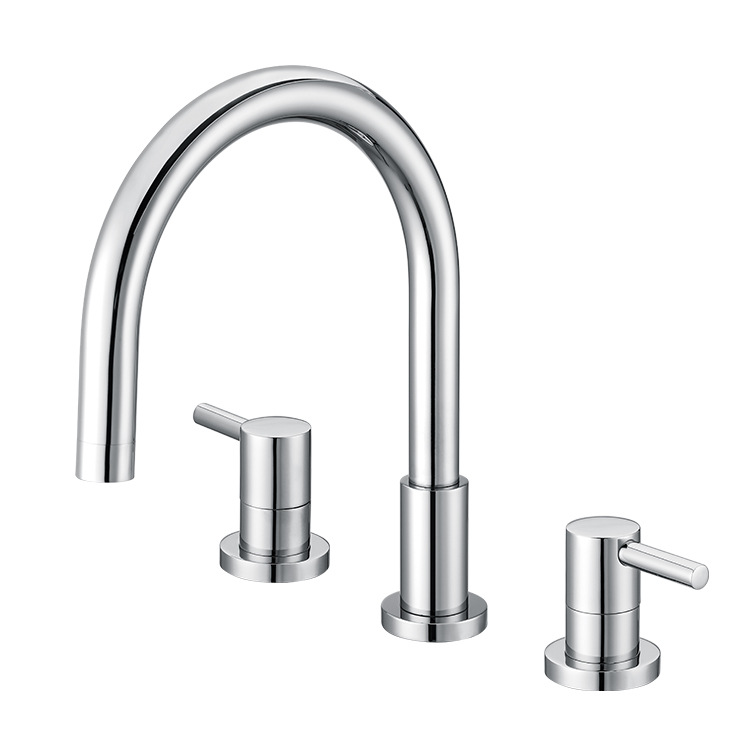 Kitchen Faucets Brass Electroplate Silver Basin Faucet Swivel Double Handle Crane Mixer Tap Hot Cold Water 360 Degree Deck Mount