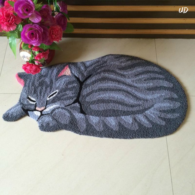 3d New Handmade Cat Shape Washable Carpet Mat Tapete