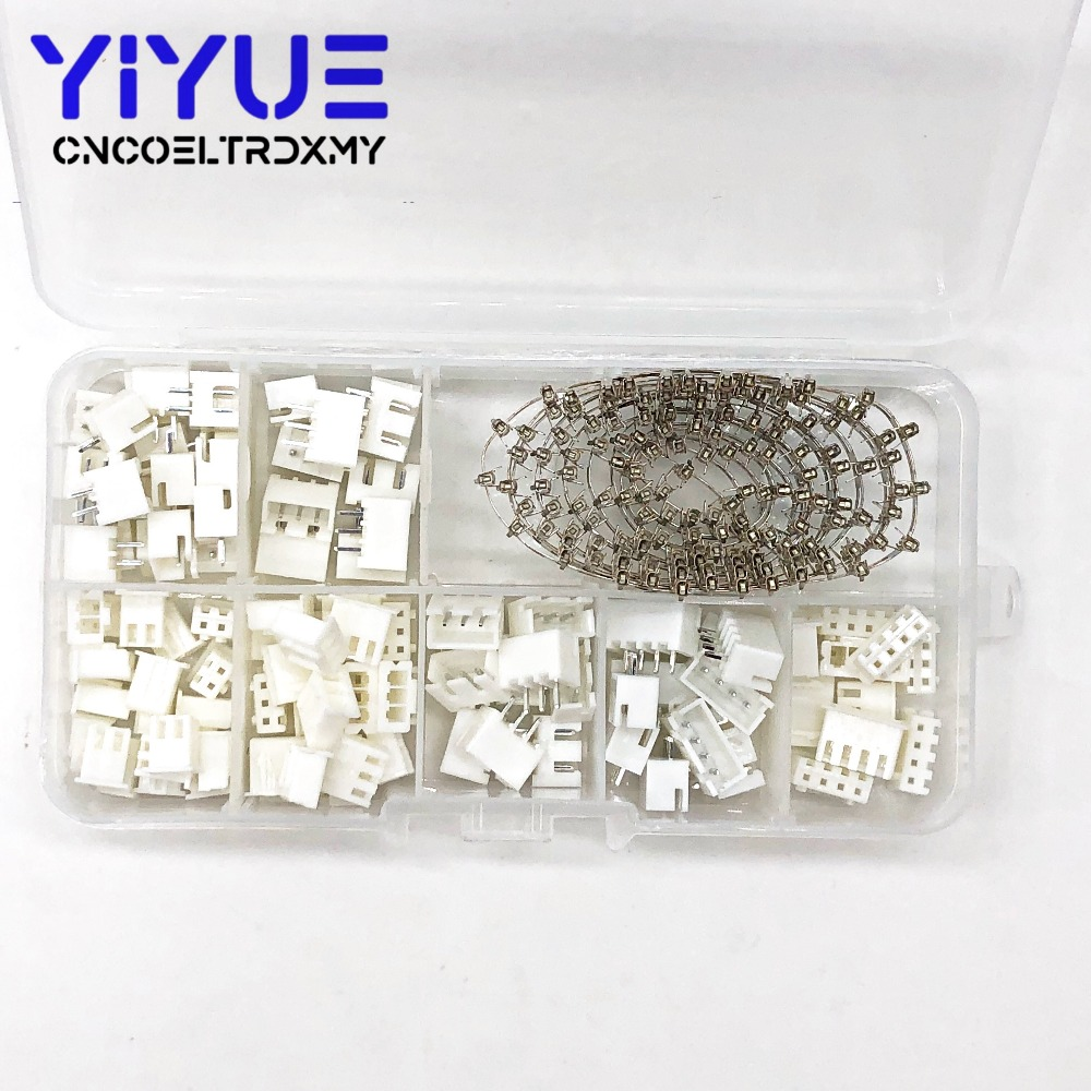 250pcs XH2.54 2p 3p 4 Pin 2.54mm Pitch Terminal Kit / Housing / Pin Header JST Connector Wire Connectors Adaptor XH Kits TJC3