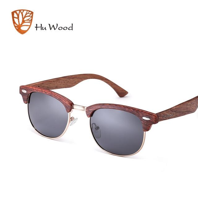 645fca98b8 HU de madera de moda Oval Semi-sin montura gafas de sol para Unisex  polarizadas