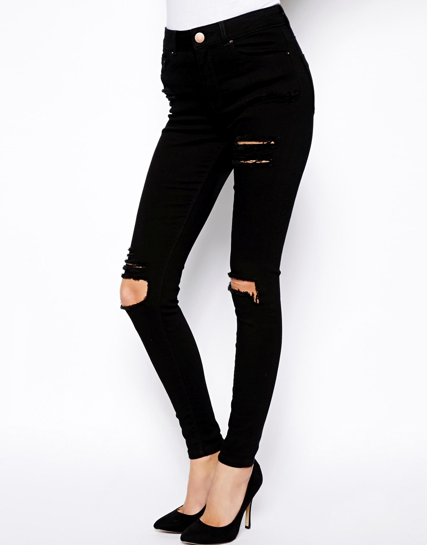 Popular Black Knee Ripped Jeans for Women-Buy Cheap Black Knee