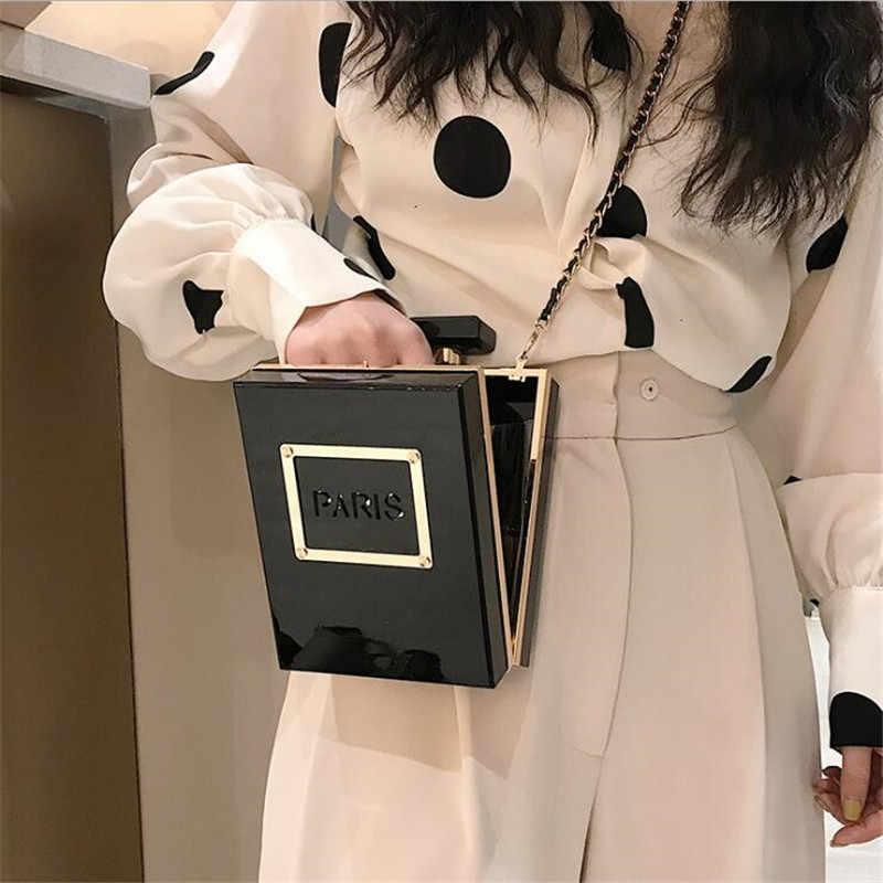 Bolsa transparente caliente para mujeres acrílica mujeres Casual negro botella bolsos cartera París fiesta aseo boda embrague bolsos de noche