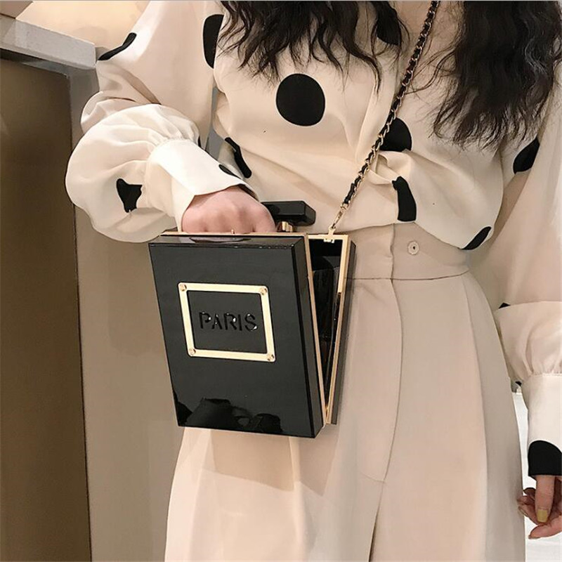 Image 5 - HOT transparent bag women Acrylic Women Casual Black Bottle 