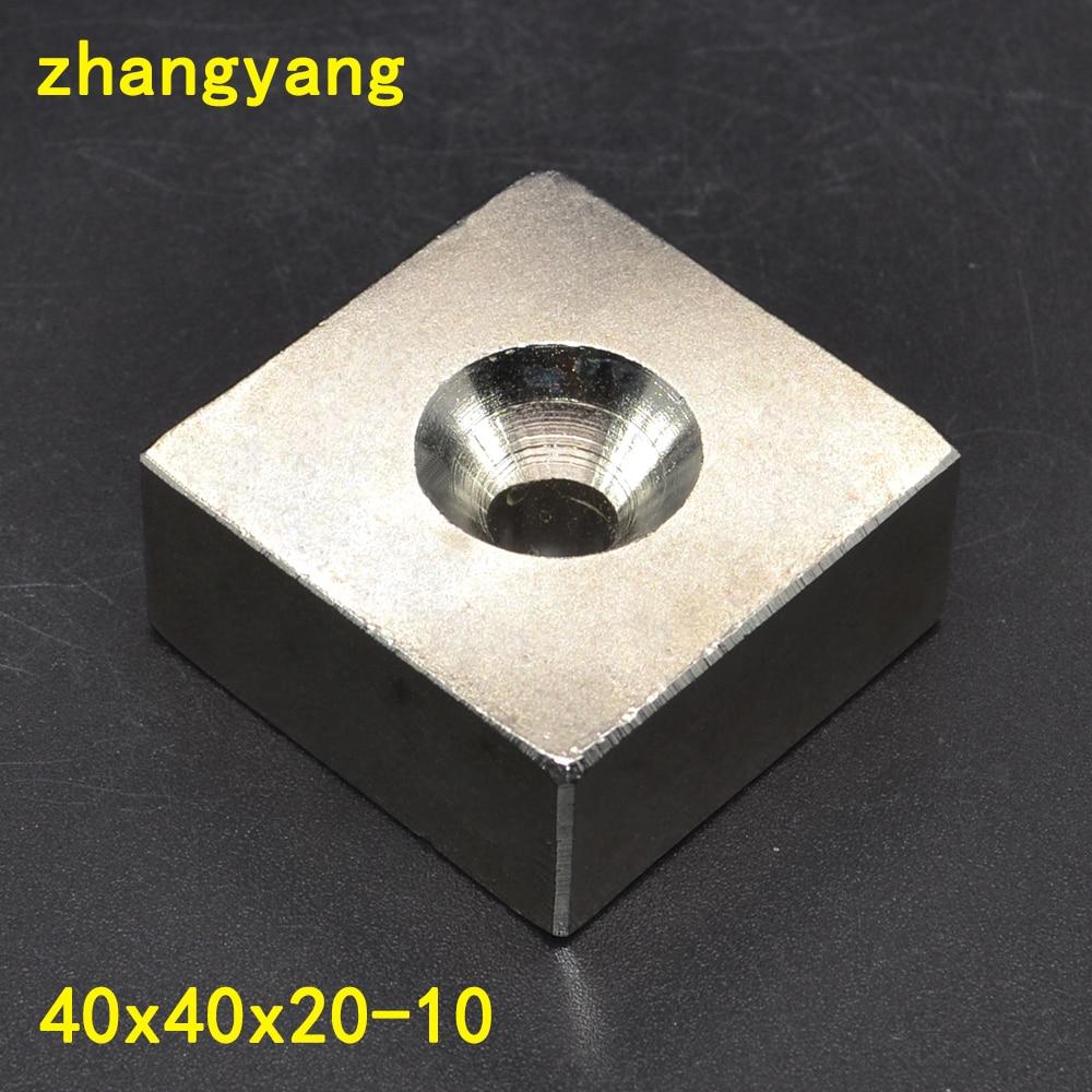 1 STÜCKE 40X40X20 Starke Seltene Erde-block NdFeB Versenkten Magneten Loch 10mm 40X40X20 Neodym-magneten 40*40*20-10