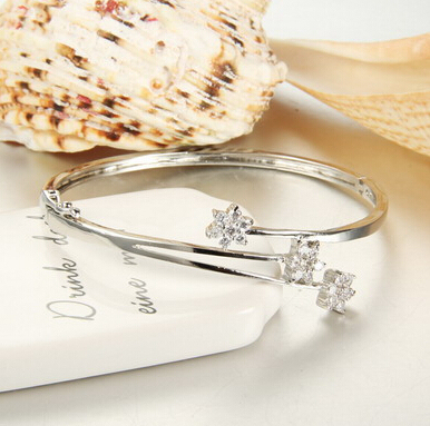 Ladies 3 pump blossom silver plated clear swiss cubic zirconia trendy bracelet bangle women bangle