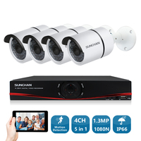 SUNCHAN 4CH CCTV System 960P AHD CCTV DVR 4PCS 1 3MP IR Outdoor Security Camera Camera
