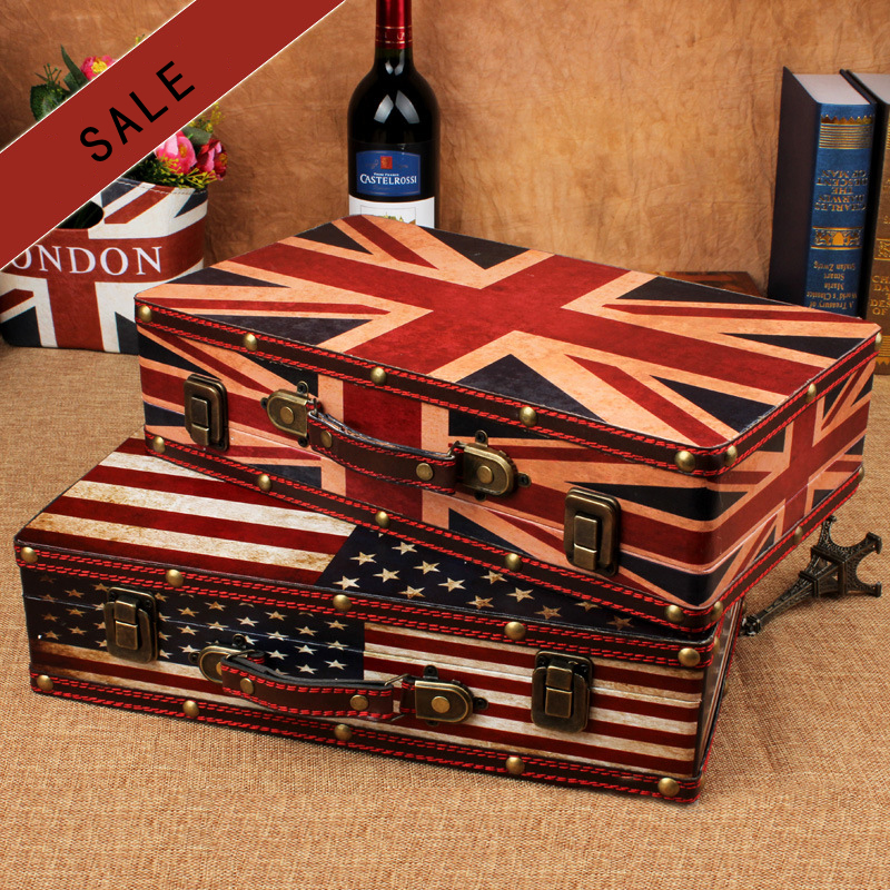 Hot Sale Wooden Suitcase Flag Travel Wooden Storage Box make up organizer Box Photography props treasure