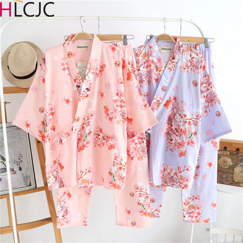 Fresh Flower 100% Cotton Comfortable Japanese Kimono Women Pajamas Sets Short Sleeve Khan Steam SPA Robes Women Pyjama Femme