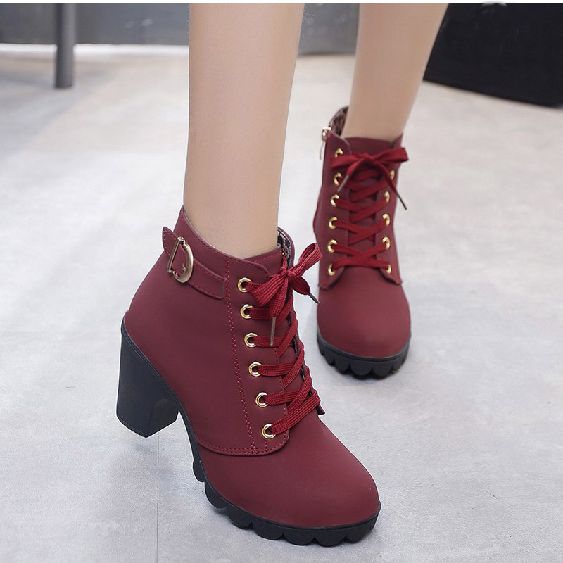 Mcckle Plus Size Ankle Boots Women Platform High Heels Buckle Shoes Thick Heel Short Boot Ladies Casual Footwear Drop Shipping #4