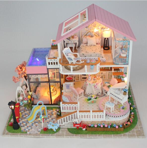 13846 Hongda DY dollhouse Mini villa model large wooden doll house miniature Furniture 3D Wooden Building Model-sweet words mini dollhouse mini furniture model living room doll baby baby doll