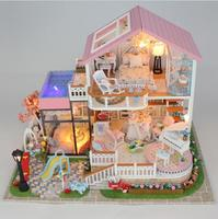 13846 Hongda DY dollhouse Mini villa model large wooden doll house miniature Furniture 3D Wooden Building Model sweet words