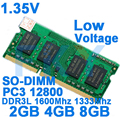 1.35V Low Voltage Memory DDR3 DDR3L Rams 1600Mhz 2GB 4GB 8GB For Laptop Notebook Sodimm Memoria With DDR 3 1333 1600Mhz 1066 Mhz