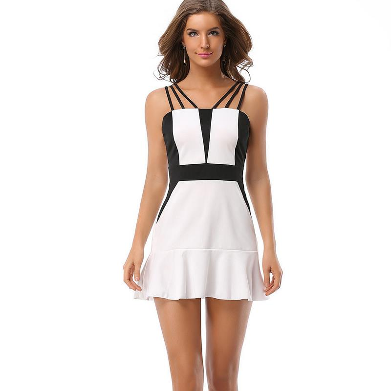 New Summer ladies new black and white <font><b>hit</b></font> color <font><b>sexy</b></font> leak backpack hips lotus leaf hanging belt mini dress plue size G43 image