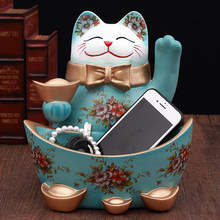Lucky Resin Cute Cat Decoration Home Figurines Craft Decor Snacks Key Storage Box Plate Shop Opening Gift Office Coffee Ornament(China)